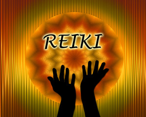 Reiki background with hands silhouette